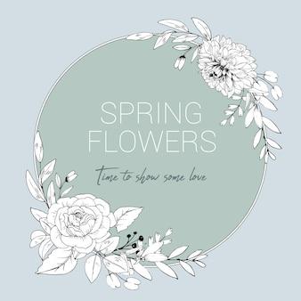 Krans van lijn bloemen en bladeren tekenstijl