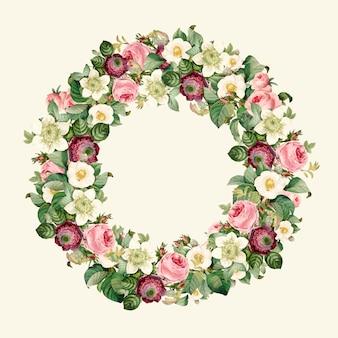 Krans van prachtige bloeiende wilde bloemen