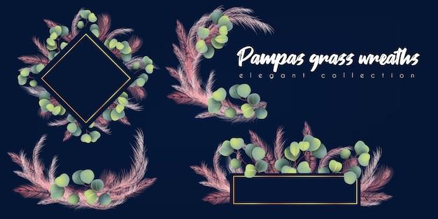 Kransen met roze pampasgras en eucalyptus