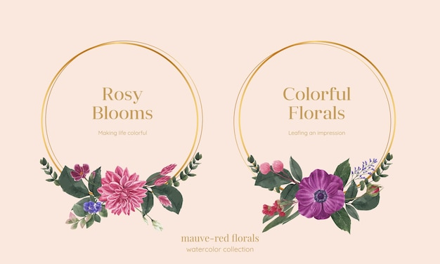 Kranssjabloon met muave rood bloemenconcept, aquarelstijl