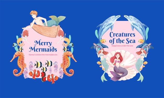 Kranssjabloon met zeemeerminconcept, aquarelstijl