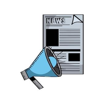 Krant en megafoon pictogram