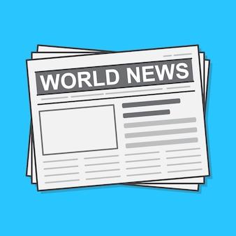 Krant illustratie. dagelijks nieuwspapier plat