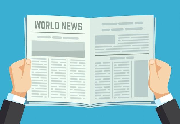 Krant in handen. zakenman die financieel tijdschrift houdt. nieuws van de mensenlezing in tijdschrift