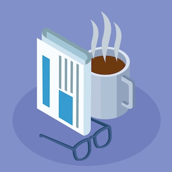 Krant, koffiemok en bril op paars