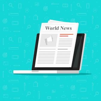 Krant op laptop computerscherm platte cartoon