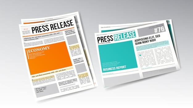 Krant persbericht met kop ingesteld Premium Vector