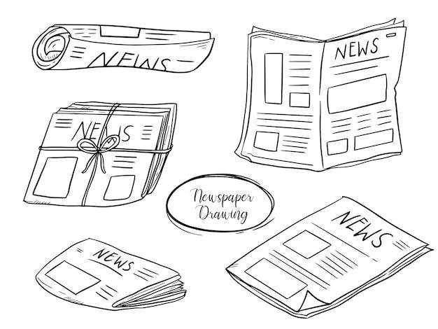 Krantenpapier instellen doodle tekening collectie