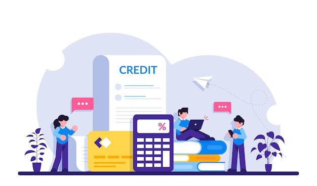 Krediet concept. online bankieren. creditcard- en internetwinkelconcepten voor diensten en toepassingen voor financieel beheer.