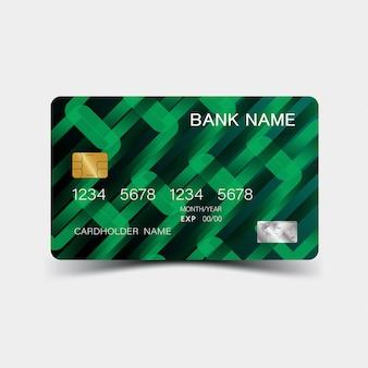 Kredietkaart. met groen elementenontwerp.
