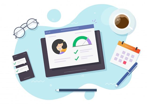 Kredietscore en financieel rapport over kredietwaardigheid controleren online onderzoek