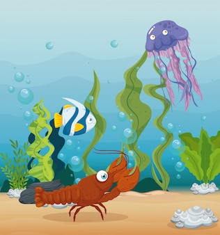 Kreeft en zeedieren in de oceaan, bewoners van de zeewereld, schattige onderwaterwezens, onderzeese fauna