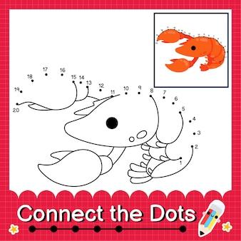 Kreeft kinderpuzzel verbind de stippen werkblad voor kinderen die de nummers 1 tot 20 tellen