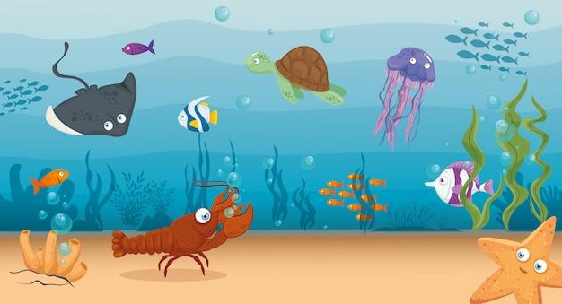 Kreeft met vis en wilde zeedieren in de oceaan, seaworld bewoners, schattige onderwater wezens, habitat mariene concept