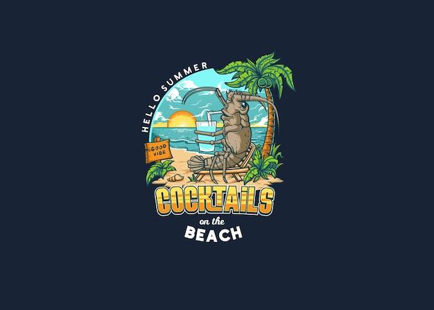 Kreeften die cocktails op het strand drinken