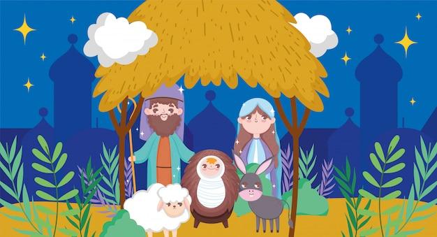 Kribbe heilige familie kerststal gelukkig vrolijk kerstfeest
