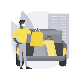 Krijg benodigdheden zonder de abstracte conceptillustratie van uw auto te verlaten.