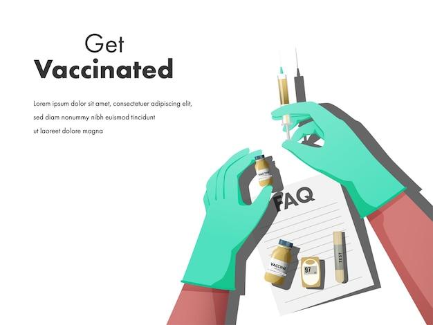 Krijg gevaccineerd posterontwerp met handen met vaccinfles