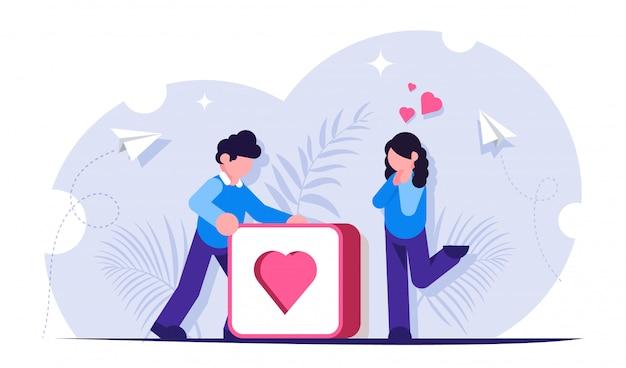 Krijg meer likes-concept. social media illustratie. man duwt grote knop met hart. meisje verheugt zich over de ontvangen aandacht van de man.