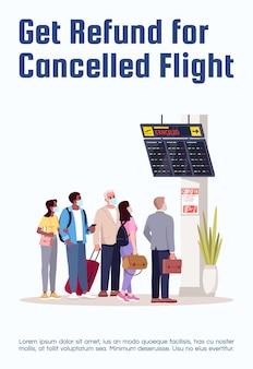 Krijg restitutie voor geannuleerde vluchtpostersjabloon. compensatie voor ticketprijs. commercieel flyerontwerp met semi-platte afbeelding. vector cartoon promo kaart. reclame-uitnodiging voor luchtvaartdiensten