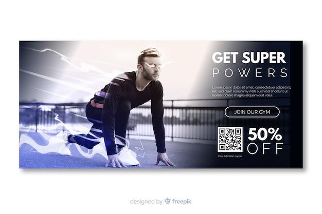 Krijg super sport banner met afbeelding