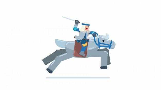 Krijger drijft paard in de strijd