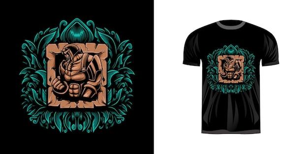 Krijger illustratie voor t-shirt design