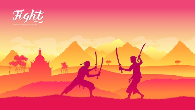Krijgers met zwaardvechtkunsten van verschillende landen van de wereld. traditionele gevechten met wapen.
