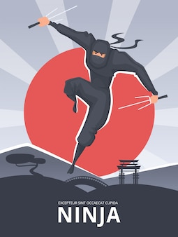 Krijgshaftige poster. aanplakbiljet met mannelijke agressieve vechter in actie stelt traditioneel aziatisch de heldenkarakter van samoeraienninja