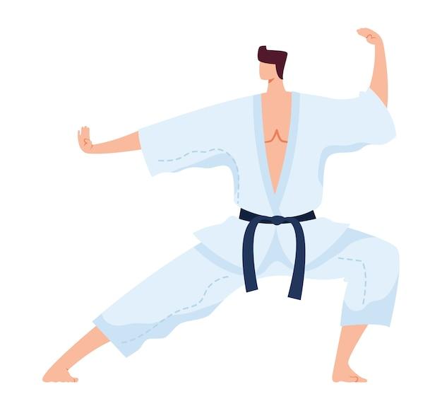 Krijgskunst, japanse sterke vechter in witte kimono, kungfu-sportoefening, vlakke illustratie, geïsoleerd op wit. man beoefent schoppen, actieve judo-levensstijl, trainingsoefening,
