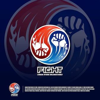 Krijgskunst team logo sjabloon