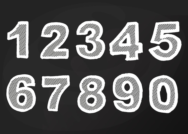 Krijt nummer op blackboard, school teken handtekening, cartoon pub en bar ontwerp. vector