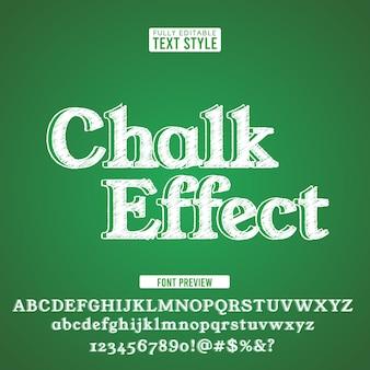 Krijt tekst lettertype alfabet krabbel ruwe hand getekend op groen bord.