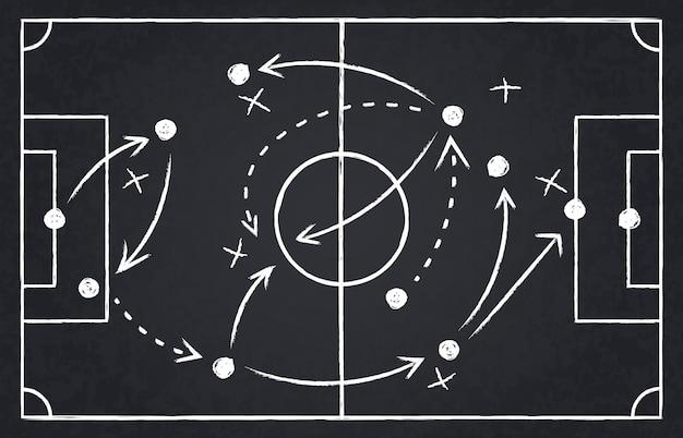 Krijt voetbalstrategie. de strategie van het voetbalteam en speeltactiek, van het het bordspel van de voetbalkampioenschap de illustratiereeks. blackboard en schoolbord, voetbal team strategie