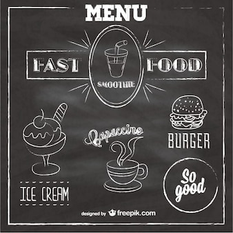 Krijtbord fast food menu