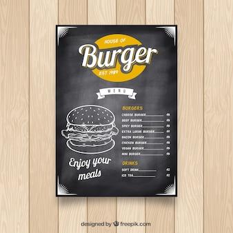 Krijtbord met fastfood menu en kleur details