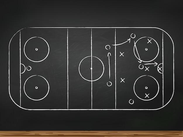 Krijtbord met tactiek voor hockeywedstrijden. vector illustratie