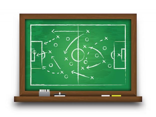 Krijtbord met voetbalgame-strategie.