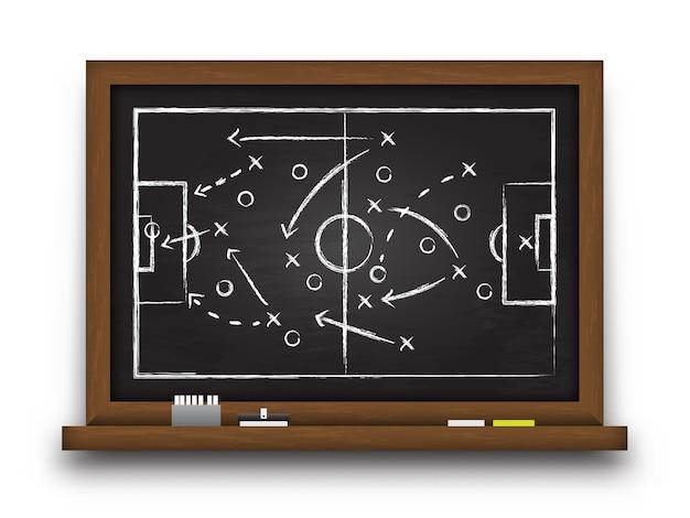 Krijtbord met voetbalgame-strategie