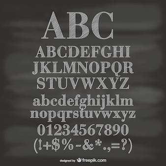 Krijtbord vector alfabet cijfers en symbolen