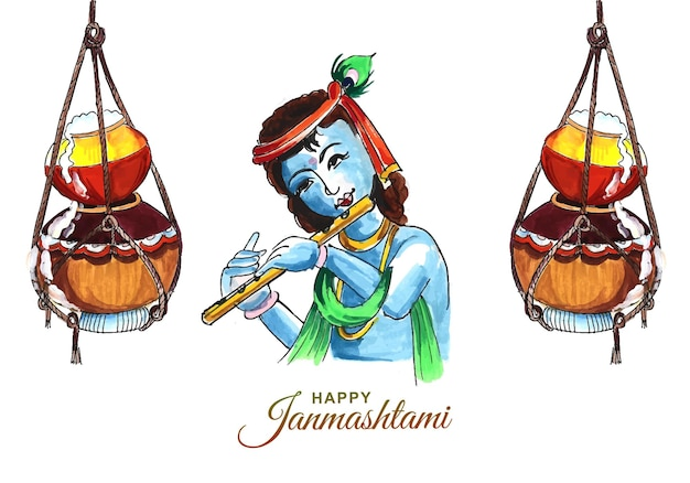 Krishna janmashtami digitale kunst illustratie kaart ontwerp