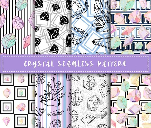 Kristal naadloos patroon - kleurrijke regenboogkristallen of edelstenen eindeloze achtergrond