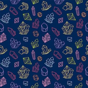 Kristal naadloos patroon met lijn edelsteen pictogrammen. zwart-wit stijl diamanten achtergrond. geometrisch naadloos patroon met lineaire witte diamanten op een donkere achtergrond.