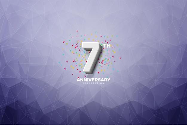 Kristaleffect achtergrond voor de zevende verjaardag met witte cijfers