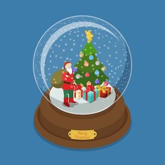 Kristallen bol merry christmas platte isometrie isometrische web illustratie sneeuw versierde dennenboom santa claus presenteert geschenkdozen winter vakantie post kaart sjabloon voor spandoek