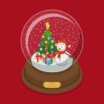 Kristallen bol merry christmas platte isometrie isometrische web illustratie sneeuw versierde dennenboom sneeuwpop presenteert geschenkdozen winter vakantie post kaart sjabloon voor spandoek