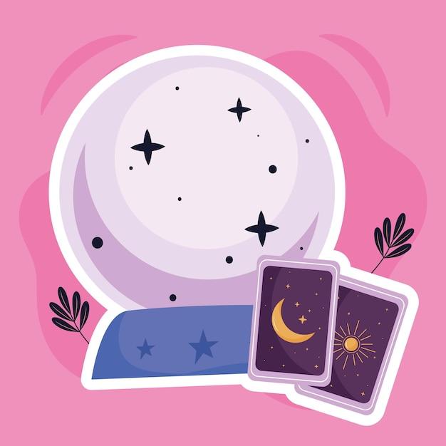 Kristallen bol met waarzeggerij kaarten esoterische pictogrammen afbeelding ontwerp