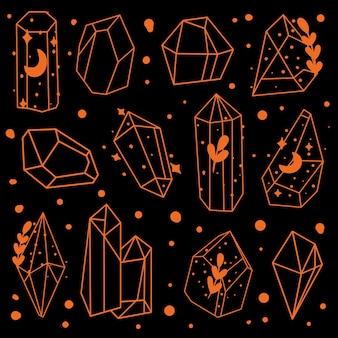 Kristallen doodle set verzameling van kristallijne structuur stenen mineralen amethist diamant