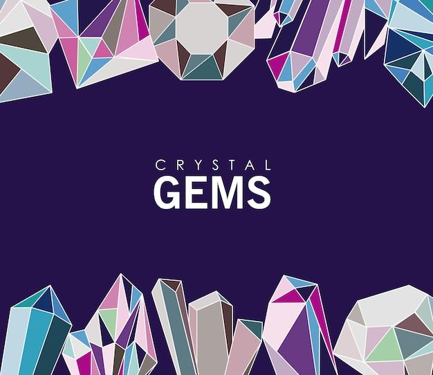 Kristallen edelstenen luxe pictogrammen frame
