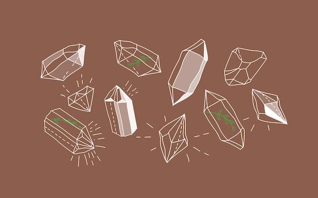 Kristallen edelstenen. magisch kristal concept. moderne illustratie. transparante lijntekeningen edelstenen. boomtakken in glanzende kristallen. minimalistisch voor web.